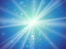 Abstract light rays and dust blue background. Modern style Stock Illustration