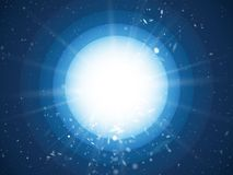 Abstract light rays and dust on blue circle background. Modern style Vector Illustration
