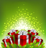 Abstract light on red gift box for Christmas Royalty Free Stock Image