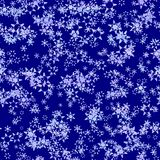 Abstract light snowflakes on dark blue background, Winter texture, Seamless illustration royalty free stock photo