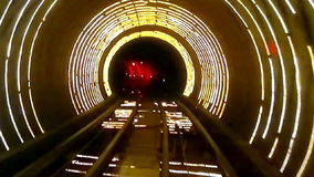 Abstract light and speed motion in railroad tunnel. stock footage