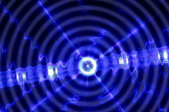 Abstract round wave light technology background. Abstract round wave and light line technology on black  background Royalty Free Stock Photos