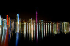 Abstract light trails of Auckland city skyline royalty free stock photos