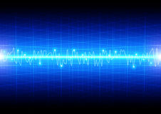 Abstract light wave concept with grid on blue background technol Stock Photography