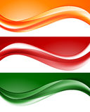 Abstract light wavy lines set. In orange green red colors and elegant dynamic style. Vector illustration royalty free illustration