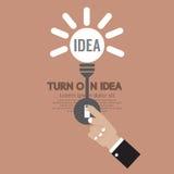 Abstract Lightbulb Turn On Idea Concept Creativity. Vector Illustration Stock Image