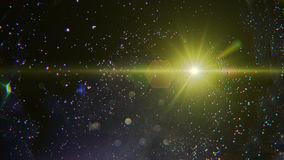 Abstract of lighting digital lens flare in dark background Stock Photo