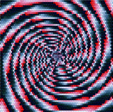 Abstract lighting rotating object of concentric spirals converging to one point Stock Image