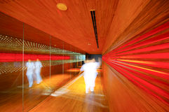 Abstract lighting wood walkway in restaurant Royalty Free Stock Photography
