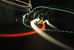 Abstract lights. Kinetic abstract photograph in a lonely city street. Long exposure photo Stock Image