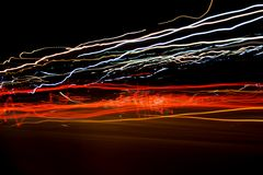 Abstract lights. On the night road stock photo