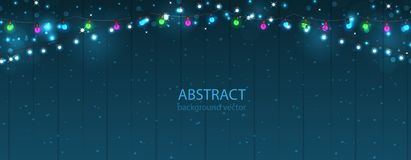 Abstract lights background. Glowing light bulbs design. Vector Stock Photo