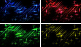 Abstract lights background. Set of four abstract rays background with stars royalty free illustration