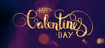Abstract lights bokeh. Ultra violet color, Valentine`s day lettering royalty free stock images