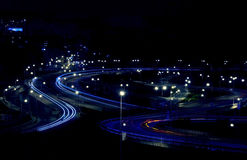 Abstract lights from cars on road junction Royalty Free Stock Photos