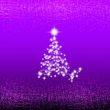 Abstract lilac background with christmas tree, waves and lights. Christmas illustration. Stock Images