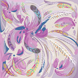 Abstract Lilac Flowers And Feathers Stock Photography