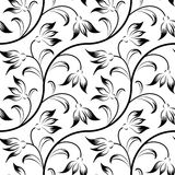 Abstract lily, floral black isolated seamless Stock Photo