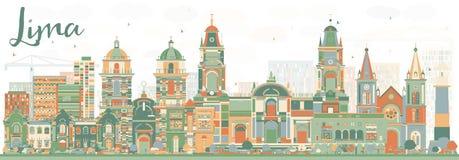 Abstract Lima Skyline met Kleurengebouwen royalty-vrije illustratie
