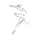 Abstract line art ballerina dancer; performance classical dance Royalty Free Stock Images