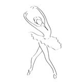 Abstract line art of ballet dancer; ballerina movement pose illustration. Royalty Free Stock Photos