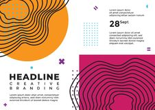 An abstract line art with orange and purple magenta cover stock illustration