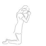Abstract line art woman on knee prayer | Christianity faith art Royalty Free Stock Image