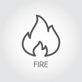 Abstract line icon of fire. Flame gas simplicity outline pictograph on gray background. Vector contour illustration. For your design projects Royalty Free Stock Photo