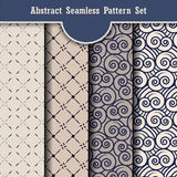Abstract line and japanese cloud seamless pattern set Stock Photos