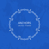 Abstract Line Ornate Frame with Anchors and Chain Stock Photo