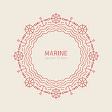 Abstract Line Ornate Frame with Anchors Waves Royalty Free Stock Photography