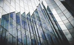 Modern architecture steel girders cladding the glass facade of b Royalty Free Stock Image