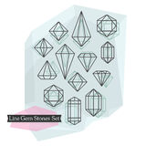 Abstract line symbolic cut gem stones and diamonds set Royalty Free Stock Images