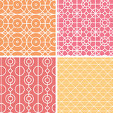 Abstract lineart geometric seamless patterns set Royalty Free Stock Photos