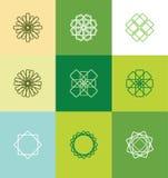 Abstract lineart monogram flower logo set Stock Photos