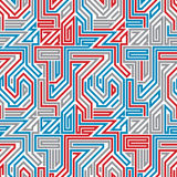 Abstract lined maze seamless pattern. Stock Photo