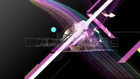 Abstract lines. Abstract composition design on black background and forms and lines stock illustration