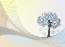 Abstract lines background with winter tree Stock Photography