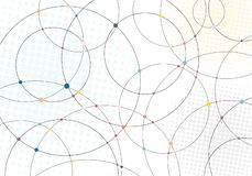 Abstract lines circles and multicolor dots with radial halftone texture on white background stock illustration