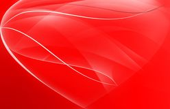 Abstract lines and curves heart. On red background stock illustration