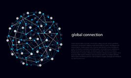 Abstract Lines and Dots of Global Connections. Vector illustration of abstract lines and dots of global connection links royalty free illustration