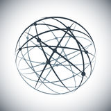 Abstract lines network sphere on white background. Technology design royalty free illustration