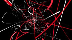 Abstract lines in red and white on black. In backgrounds stock video