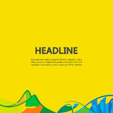 Abstract lines on a yellow background. Banner background in colors of Brazil flag. Three color concept. Can be used in cover design, book design, website Royalty Free Illustration