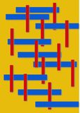 Abstract Lines on yellow background. Thin red and thick blue lines on yellow background stock photography