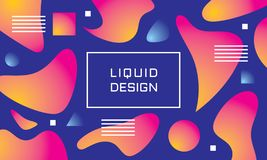 Abstract liquid color background - vector illustration. Landing page template. Concept creative banner layout. Art poster. Fluid. Gradient shapes. Retro style royalty free illustration