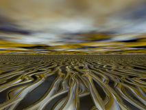 Abstract liquid gold landscape background Stock Photos