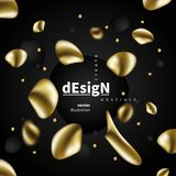 Abstract liquid golden shape. Fluid design. Isolated gradient waves with geometric lines, dots. for your title, banner, flyer,. Presentation, brochure, poster royalty free illustration