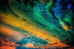 Abstract liquid painting with texture. Abstract liquid painting with cells, colorful texture stock photography