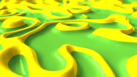 Abstract liquid green and yellow paints boiling. Loopable 3D motion background. Abstract liquid paints. Loopable 3D motion background stock footage